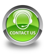 Contact us (customer care icon) glossy green round button